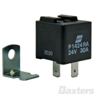 Relay Mini Proquip 24V 30A Normally Open 4 Pin Resistor Protected Top Slide Removable Mount