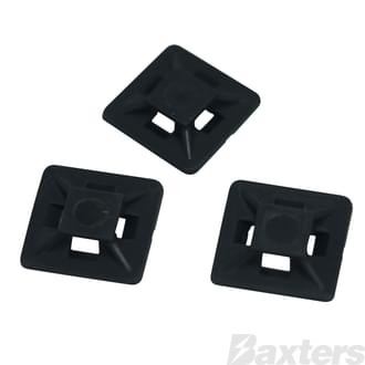 Cable Tie Mount Adhesive Black 28 x 28mm (Pkt Of 100]