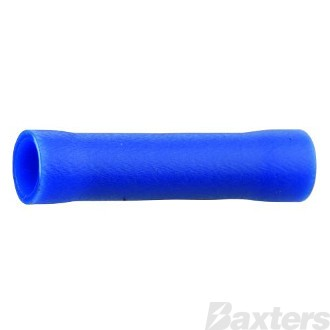 Butt Terminals (Joiners) Insulated Blue 4mm Pack 100 ** Can Use BCT-0030 **