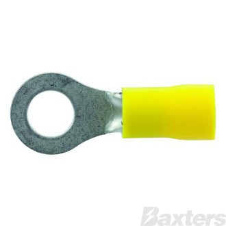 Ring Terminals Insulated Yellow 6mm Pack 100 ** Can Use BCT-0016 **