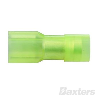 Female Blade Terminals (Push On) Fully Insulated Clear Yellow 6.4 x 0.8mm Pack 100 ** Can Use BCT-0040 **