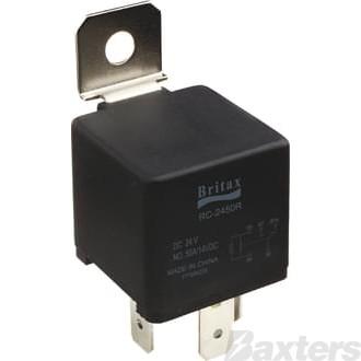 Relay Mini Britax 12V 40A Normally Open 4 Pin Resistor Protected