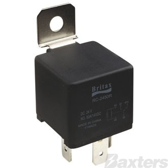 Relay Mini Britax 12V 80A Normally Open 4 Pin Heavy Duty Resistor Protected