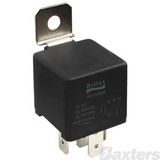Relay Mini Britax 12V 40A Normally Open 5 Pin Resistor Protected (Use 0332019150)