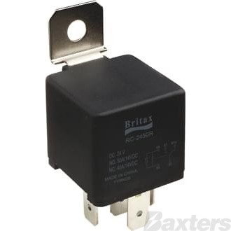 Relay Mini Britax 12V 80/60A Change Over 5 Pin H/D Resistor Protected Terminals 30, 87 and 87A 9.5mm Width