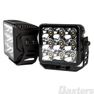LED Driving Light Set 2 x Spot Beams 10-30V 9 x Osram P9 LEDs EA 3756lm EA IP67 100x72x106mm Roadvision