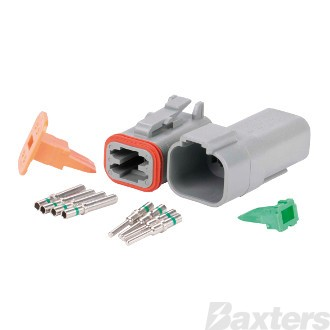 Roadpower DT Type Connector 4 Way. Includes Plug Socket Terminals and Wedges. Single Blister Pack