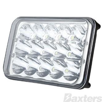 LED Headlamp Rectangular 10-30V High/Low 168mm 15 x 3W LEDs 45W 2700lm IP67 Roadvision (BRHL-15LED)