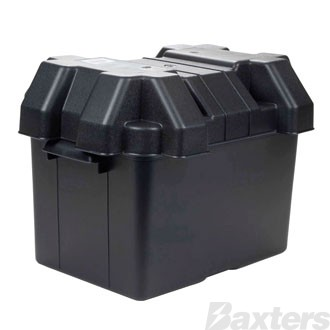 Roadpower Plastic Battery Box to suit Small Battery, 275x180x200, includes Lid and Strap