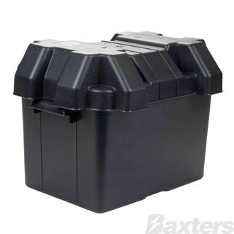 Roadpower Plastic Battery Box to suit Large Battery, 325x185x200, includes Lid and Strap