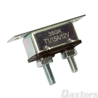 Roadpower Circuit Breaker 12V 15A, Automatic Reset Type I, Metal Housing, Straight Bracket, Single Pack
