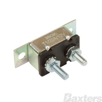Roadpower Circuit Breaker 12V 20A, Automatic Reset Type I, Metal Housing, Straight Bracket, Single Pack