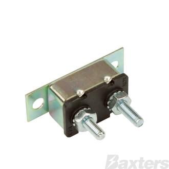 Roadpower Circuit Breaker 12V 40A, Automatic Reset Type I, Metal Housing, Straight Bracket, Single Pack