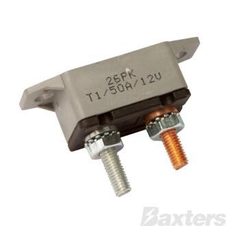 Roadpower Circuit Breaker 12V 50A, Automatic Reset Type I, Plastic Housing, Straight Bracket, Single Pack