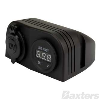 Double DC Accessory Socket Socket and Voltmeter, Surface Mount, 12/24V Input/Output, 20/10A Output