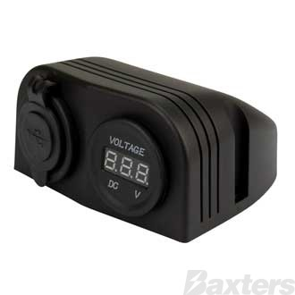 Double USB Socket and Voltmeter, Surface Mount, 12/24V Input/Output, 20/10A Output