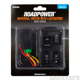 Switch Roadpower 4 Symbol Roadpower/Work Light/Aux Light/Beacon Suits Toyota Includes Harness 33 x 22mm Blue LED