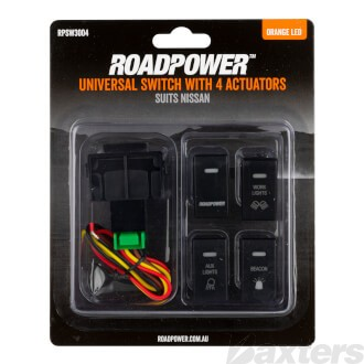 Switch Roadpower 4 Symbol Roadpower/Work Light/Aux Light/Beacon Suits Nissan Includes Harness 35 x 20mm Orange LED