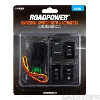 Switch Roadpower 4 Symbol Roadpower/Work Light/Aux Light/Beacon Suits Holden/Isuzu Includes Harness 33 x 23mm Blue LED