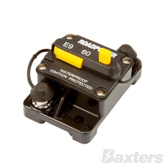 Roadpower Thermal Circuit Breaker 12-48VDC 60A Surface Mount Manual Reset Ignition Protected IP67