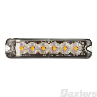 LED Strobe Module Amber Surface Mount 10-30V 6 LED 18W 19 Flash Patterns Synchronizable Class 1 130x30x9mm