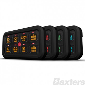 Switch Panel 8 Way 10-30V 60A Continuous On/Off or Momentary Programmable with 2 High Beam Inputs 4 Backlit Colours Optional 2nd Switch Panel Includes 4 x Switch Panel Mounting Options