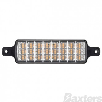 Front Indicator Lamp Amber/Amber LED 10-30V 227x56mm Rect Recessed Bull Bar Mount