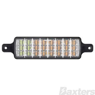 Front Indicator/Park Lamp White/Amber LED 10-30V 227x56mm Rect Recessed Bull Bar Mount