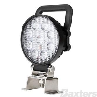 LED Work Light Round Flood Beam 10-30V 9 x 1.5W LED's 14W 1250lm IP67 107x42x133mm Handle & Switch Roadvision