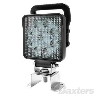 LED Work Light Square Flood Beam 10-30V 9 x 1.5W LED's 14W 1210lm IP67 100x40x129mm Handle & Switch Roadvision