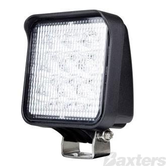 LED Work Light Square Compact Flood Beam 10-30V 9 x 3W Osram LED's 27W 1200lm IP67 77x46x94mm Roadvision
