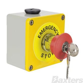 Emergency Stop Switch Latching With Key N/O N/C N/C Metal Enclosure