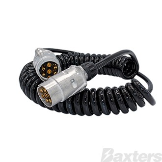 Erich Jaeger 7 pin 5.6 metre max standard suzi coil with large round plugs x 2 and 1 metre tail x 1